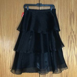 H&M Black tiered midi skirt